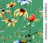 seamless pattern with gerbera...   Shutterstock . vector #1161400813