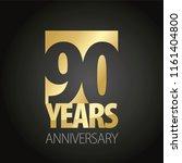 90 years anniversary gold black ... | Shutterstock .eps vector #1161404800