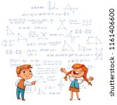 kids drawing. boy and girl draw ... | Shutterstock .eps vector #1161406600