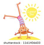 happy little girl doing... | Shutterstock .eps vector #1161406603