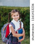 pupil of primary school with... | Shutterstock . vector #1161413236