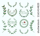 floral wreath set with...   Shutterstock .eps vector #1161414820