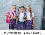 pupils of primary school. girls ... | Shutterstock . vector #1161416050