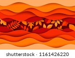 paper autumn leaves and waves...   Shutterstock .eps vector #1161426220