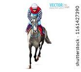 jockey on horse. champion.... | Shutterstock .eps vector #1161427390