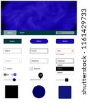 dark blue vector ui kit with...