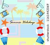 summer holiday hat flip flops... | Shutterstock .eps vector #1161442069