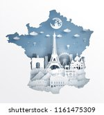 paris  france with map concept... | Shutterstock .eps vector #1161475309