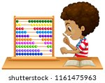 an african kid learning abacus... | Shutterstock .eps vector #1161475963