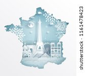 winter in paris  france with... | Shutterstock .eps vector #1161478423