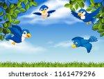 Stock vector birds flying on the sky illustration 1161479296