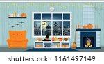 halloween party in living room... | Shutterstock .eps vector #1161497149