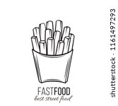 vector french fries in carton... | Shutterstock .eps vector #1161497293