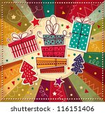 vintage christmas card with... | Shutterstock .eps vector #116151406