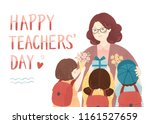teacher day gift illustration | Shutterstock . vector #1161527659