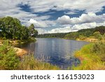 Summer Landscape With Lake And...
