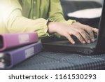 hands of businesswoman in... | Shutterstock . vector #1161530293