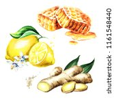 organic fresh ginger  lemon and ... | Shutterstock . vector #1161548440