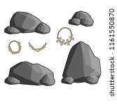 a set of caveman stones and... | Shutterstock .eps vector #1161550870