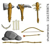 cave man set stone axe and club.... | Shutterstock .eps vector #1161550876