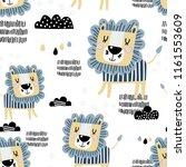 seamless pattern with cute lion.... | Shutterstock .eps vector #1161553609