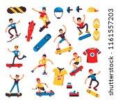 skateboarder teen kid and... | Shutterstock .eps vector #1161557203