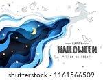 paper art of happy halloween ... | Shutterstock .eps vector #1161566509