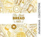bakery top view frame. hand... | Shutterstock .eps vector #1161574546