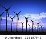 wind field with wind turbines | Shutterstock . vector #116157943