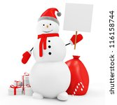 Snowman with Blank Board and Christmas Accessories isolated on white background - stock photo