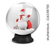 Crystal Ball with Snowman and Different Christmas Accessories isolated on white background - stock photo