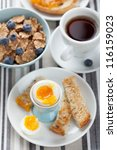 healthy breakfast with egg and... | Shutterstock . vector #116159023