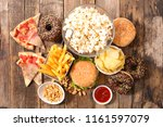 collection of junk food ... | Shutterstock . vector #1161597079