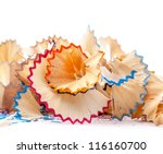 pencil shaving isolated on... | Shutterstock . vector #116160700