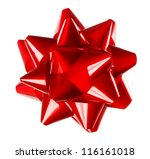 red holiday gift bow on white... | Shutterstock . vector #116161018