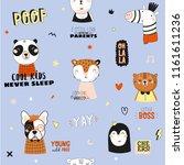 super cute animal seamless... | Shutterstock .eps vector #1161611236
