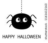 happy halloween. black spider...   Shutterstock .eps vector #1161612163