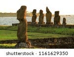 moai statues at ahu tahai  the... | Shutterstock . vector #1161629350