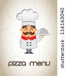 chef with menu in hand pizza menu vector illustration