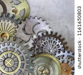 metallic gears background  3d... | Shutterstock . vector #1161650803