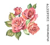 red roses and leaves.watercolor | Shutterstock . vector #1161653779