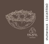 falafel in pita with vegetables ... | Shutterstock .eps vector #1161655060