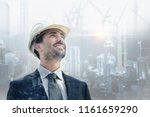 a builder  engineer puts on his ... | Shutterstock . vector #1161659290