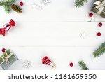 christmas composition  frame.... | Shutterstock . vector #1161659350