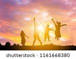 silhouette of happy active... | Shutterstock . vector #1161668380