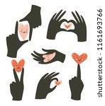 hands gestures with heart... | Shutterstock .eps vector #1161693766