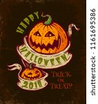 vector vintage halloween card... | Shutterstock .eps vector #1161695386