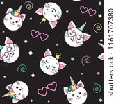 cute funny cat unicorn seamless ... | Shutterstock .eps vector #1161707380