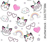 cute funny cat unicorn seamless ... | Shutterstock .eps vector #1161707386
