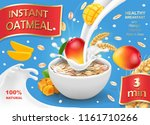 oatmeal advertising with mango... | Shutterstock .eps vector #1161710266